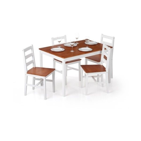 White1 IKayaa Modern 5PCS Pine Wood Kitchen Dining Table And 4 Chairs... (