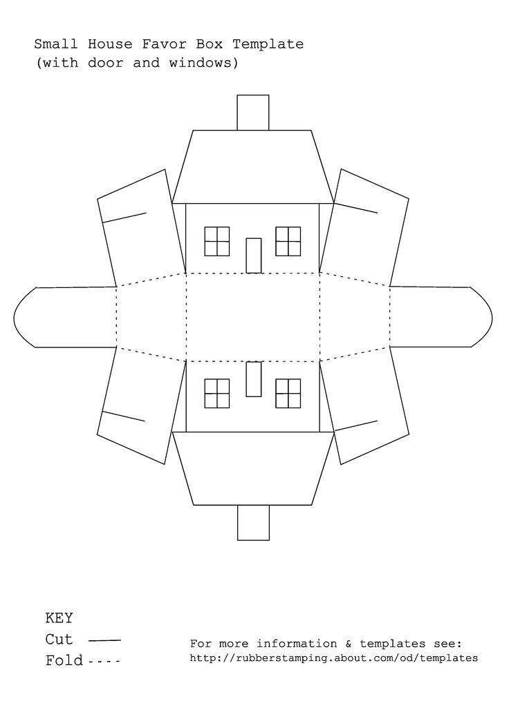Printable van een doosje in de vorm van een huisje