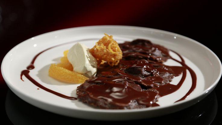 Chocolate Ravioli with Chocolate Sauce and Orange