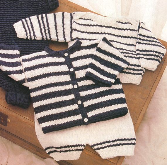 1922 Romper Suit with Matching Sweater, Cardigan and Pull-ups  This a PDF copy of a knitting pattern for a baby set in 10ply yarn. A beautiful set for a baby girl or boy. Sizes: to fit 20/22 (50/55cm) chest  * Romper * Cardigan * Sweater * Pilchers  You are purchasing a digital PDF file that will be sent to your inbox as soon as payment is received.  As with all my patterns you are most welcome to sell the finished item.  * Looking for books, Hard copy pattern books or just somethin...