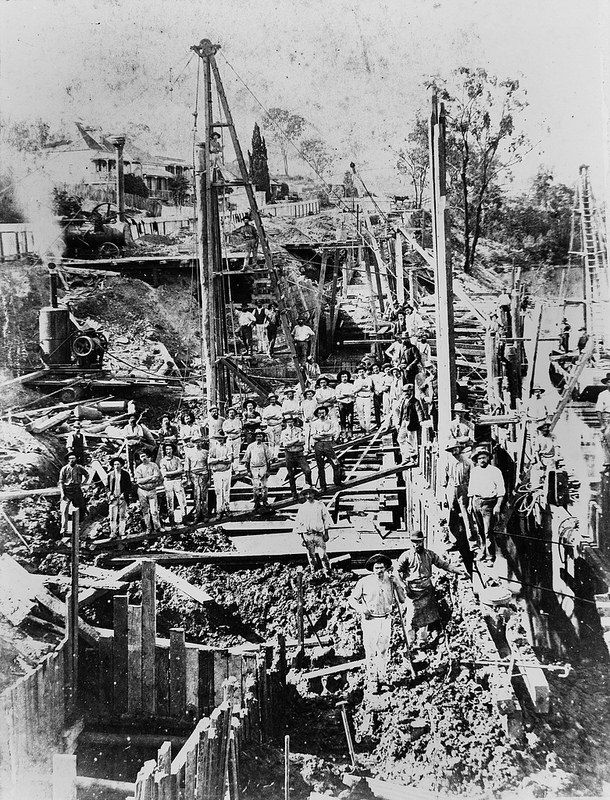 Repairing the retaining wall at Coronation Drive, Brisbane after a landslide in 1887