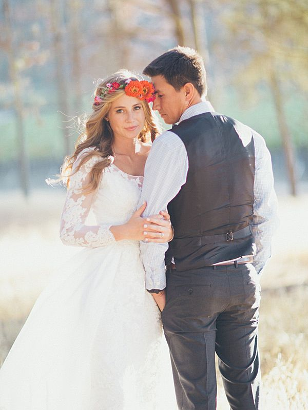 bohemian bride and groom, photo by Kelsea Holder http://ruffledblog.com/paso-robles-wedding-with-moms-wedding-gown #weddings #weddingportrait