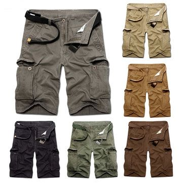 ChArmkpR Plus Size 30-46 Mens Casual Cotton Solid Color Big Pockets Loose Cargo Military Shorts at Banggood