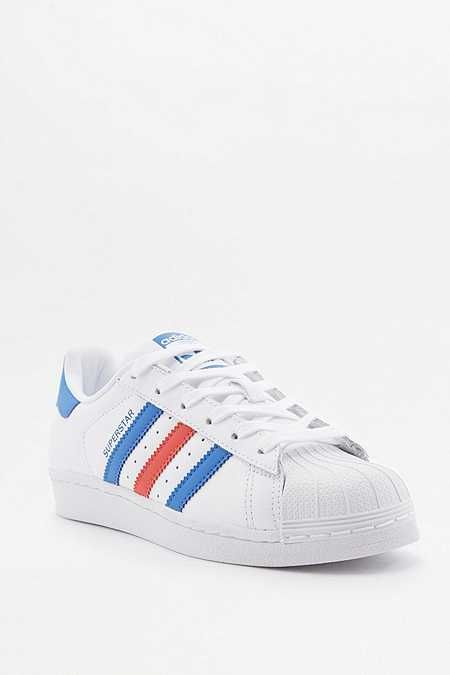 adidas Superstar White Red and Blue Striped Trainers