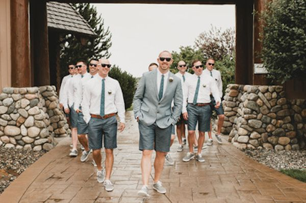 Groom and groomsmen in shorts - we say why not?!