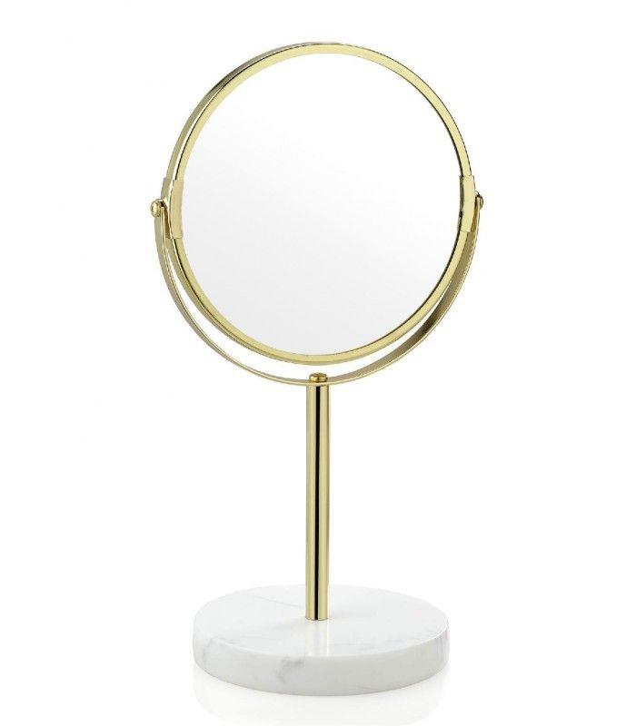Miroir Grossissant x2 sur Pied Marbre et Métal Doré