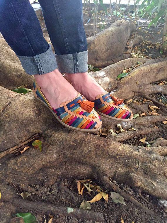 Ginas Motas de Piel  Mexican Huaraches  by thecatrinastore on Etsy