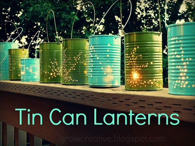 If glass votives or mason jars aren't your thing, you could always follow this Tin Can Lantern Tutorial from Grow Creative.