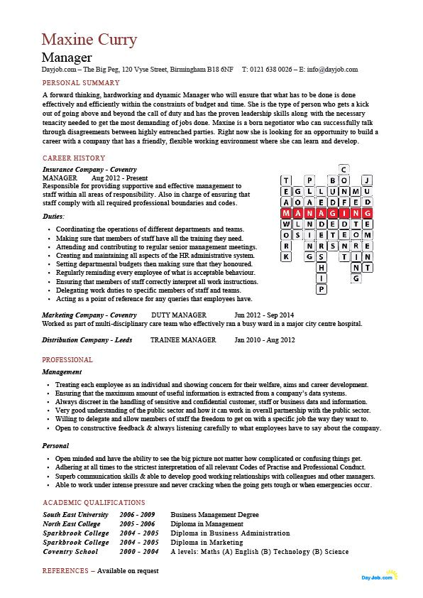 A Managers resume / CV that has a unique crossword feature that
