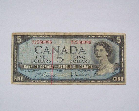 1954 Canada 5 Dollar Banknote Paper Money by greenlandturtle, $8.00