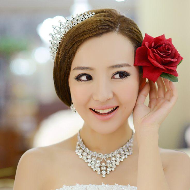 라인 스톤 신부 보석 세트 세 가지의 웨딩 헤어 액세서리 목걸이 귀걸이 신부 웨딩 액세서리