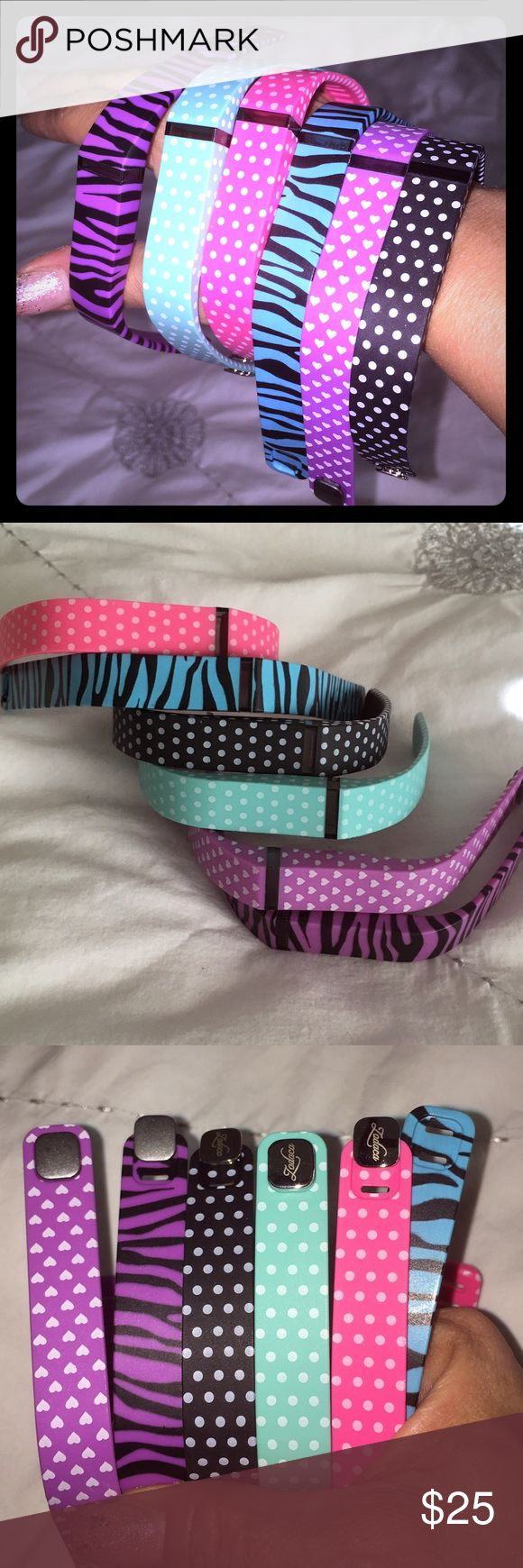 (6) Fitbit Flex Wrist Bands - Fabulous ❤️ 💋 Amazing Colors - Never Used 💋 Blue Zebra is missing removable metal bracket - can be borrowed from other colors! Great Deal!! Accessories
