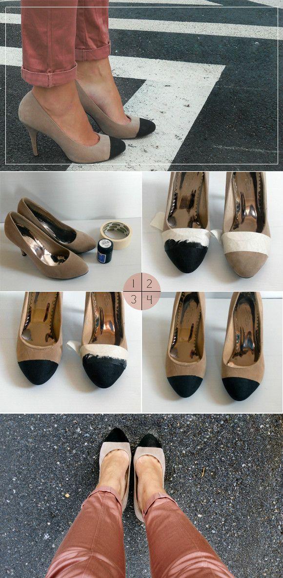 DIY: Black Toe Pump « JacksonSpeeks: Diy Black, Toe Pumps, Black When, Diy Fashion, Cute Ideas, Diy Tutorials, Ballet Flats, Old Shoes, Toe Shoes
