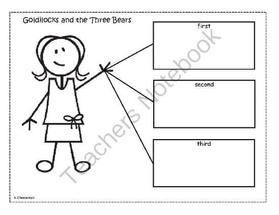 Goldilocks Ordinal Worksheet from Karen's Early Childhood