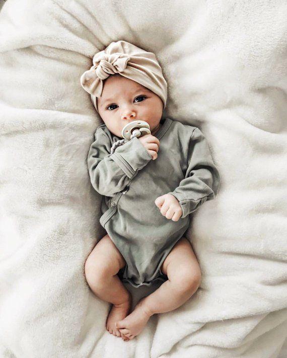 Oatmeal Jersey Baby Girl Hat Baby Turban Newborn Hat Etsy