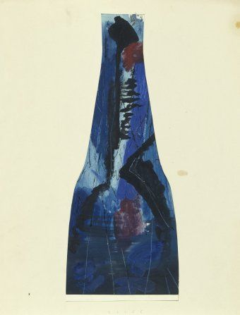 Bohumil Elias, design of glass vase with abstract decoration, gaouche on paper, 52,0 x 26,0 cm, VSUP Prague, 1958 - 63
