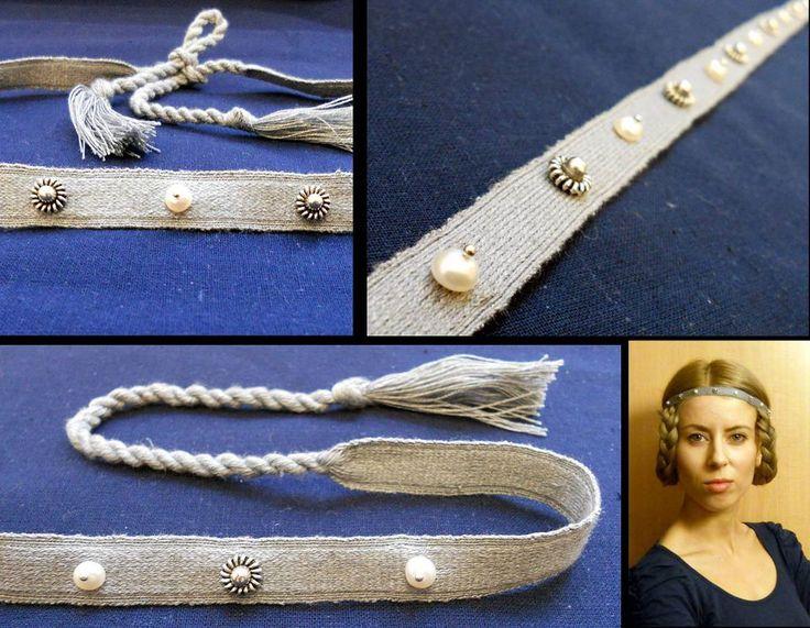 Medieval tablet woven headband. Silk, silver, pearles.  by Unicornis http://od-podszewki.blogspot.com/2013/01/sredniowiecze-jedwabna-opaska-na-wosy.html