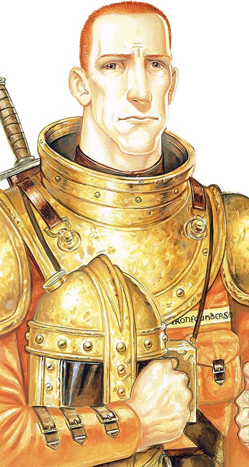 Carrot Ironfoundersson (Discworld) as a youth, in armor, helmet on arm. From http://www.writeups.org/carrot-ironfoundersson-discworld-pratchett/