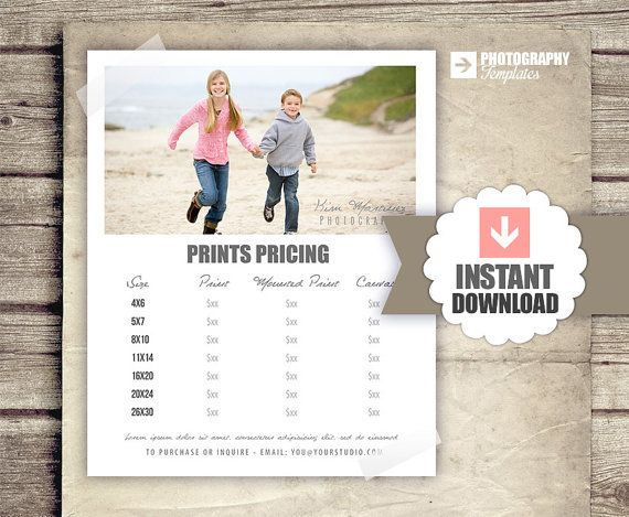 Photography Prints Pricing - Photographer Price List - Marketing - Photoshop Template Photography Print Price Packages - INSTANT DOWNLOAD