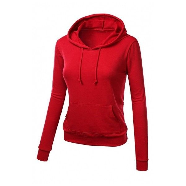 Hooded Plain Long Sleeve Pullover Slim Single Pocket Sweatshirt (34 BAM) ❤ liked on Polyvore featuring tops, hoodies, red hoodies, pullover hoodie sweatshirt, red hoodie, hoodie pullover and sweatshirt hoodie