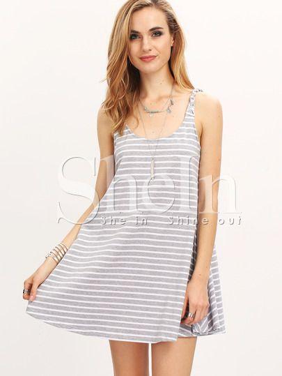 Grey Beachwear Spaghetti Strap Classical Striped Dress Sundresses