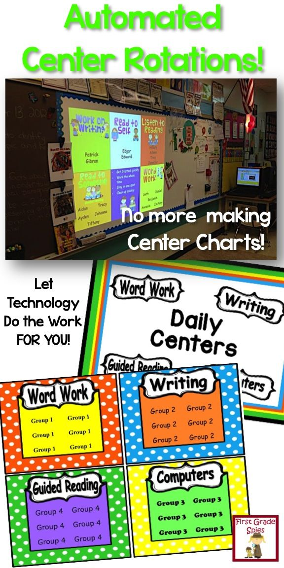 Automated center rotation file - totally editable to fit your classroom needs! Never make another center chart again!