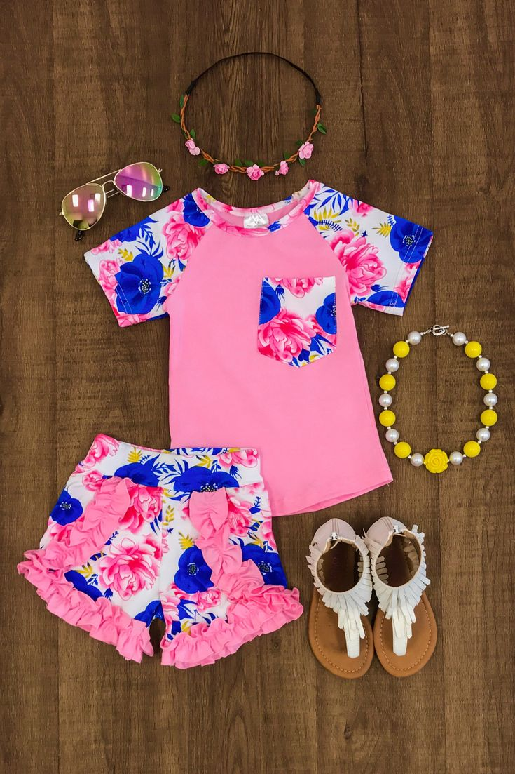 The Reese Floral Short Set - Sparkle in Pink