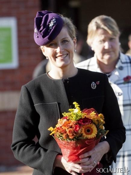 Sophie Countess Wessex Purple Dress Normandy Barracks Medals Parade