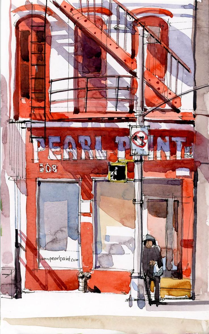 Pearl Paint urban sketch.  Definitely the Lower East Side of Manhattan.  On Canal St.