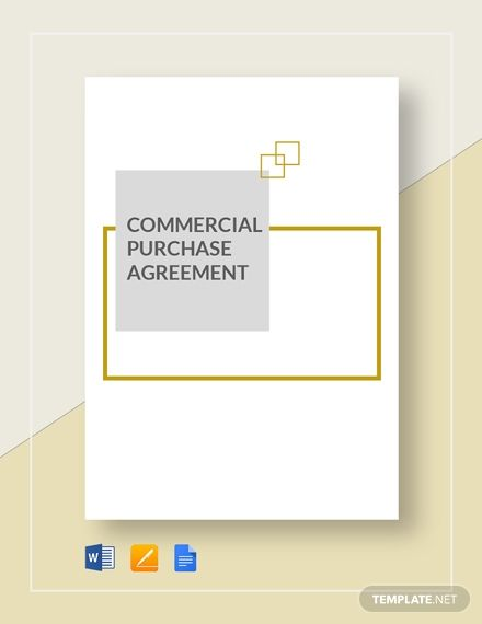 Commercial Purchase Agreement Agreement Templates  Designs 2019
