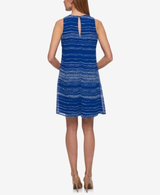 Tommy Hilfiger Printed Trapeze Dress - Blue 18