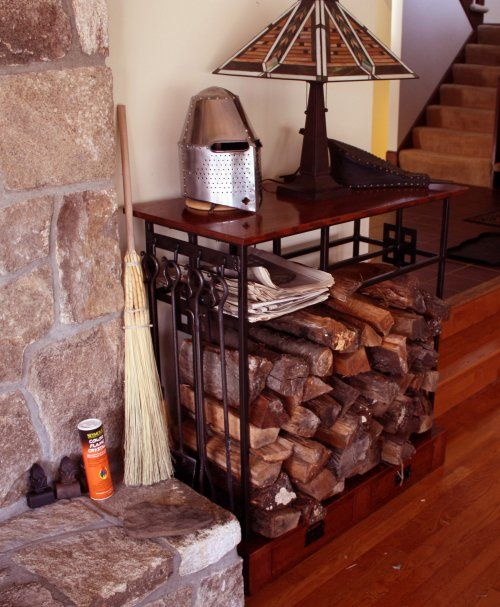 Mission Style Indoor Firewood Rack - Learn more about this at http://www.logcabindirectory.com/blog/indoor-firewood-rack-revisited