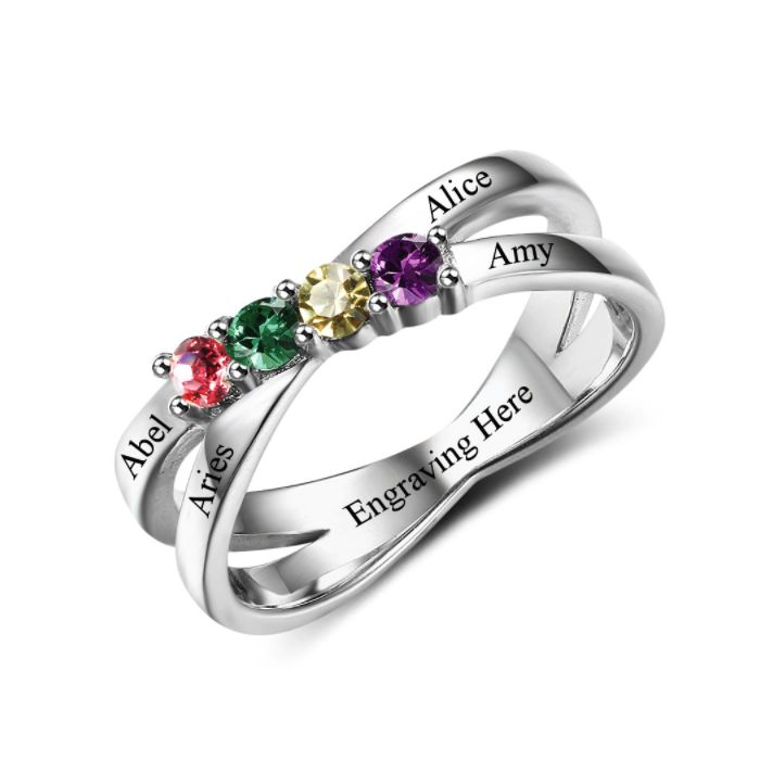 Discount Voucher Special!! >>> ENTER CODE: SUMMER AT CHECKOUT & SAVE FOR EACH AND EVERY ITEM IN OUR SPECIALS CATALOGUE! .... Specials items may be time limited so get yours quick! ....  Crossover Band Birthstone Ring - 925 Sterling Silver