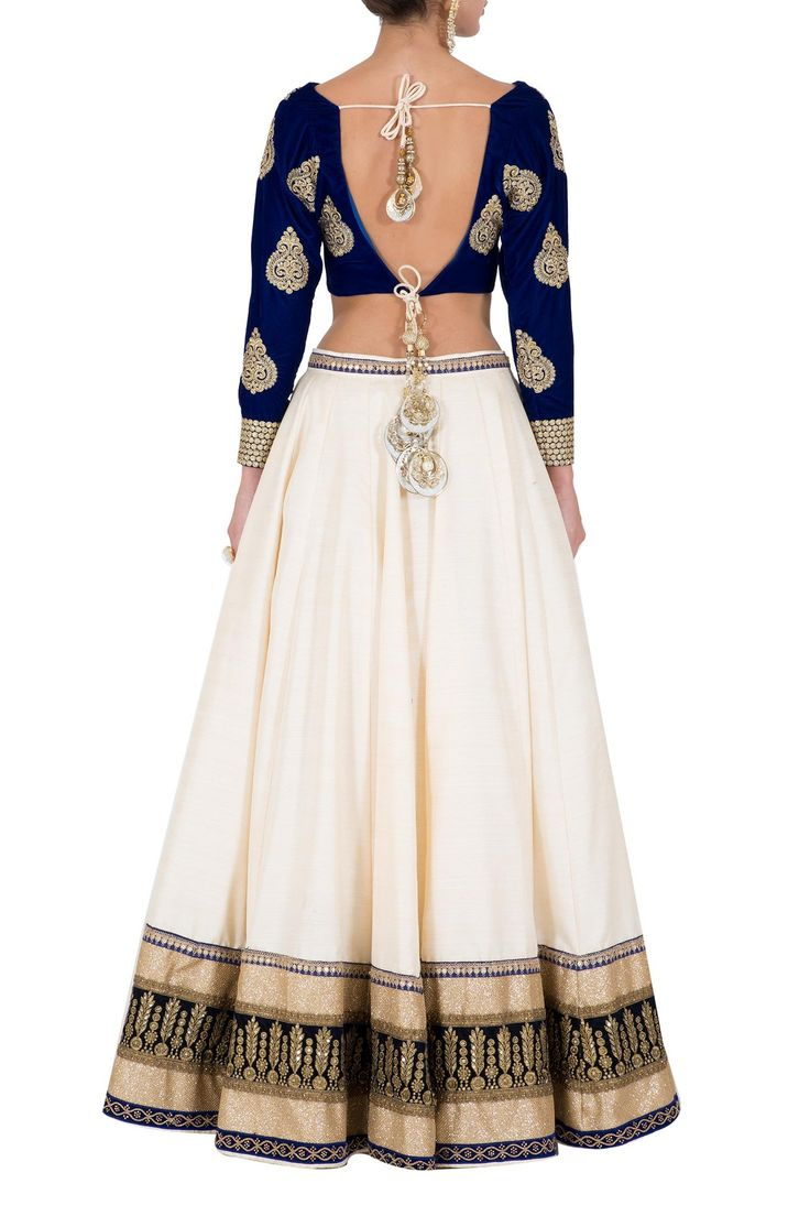 Royal Blue Velvet Lehenga Choli