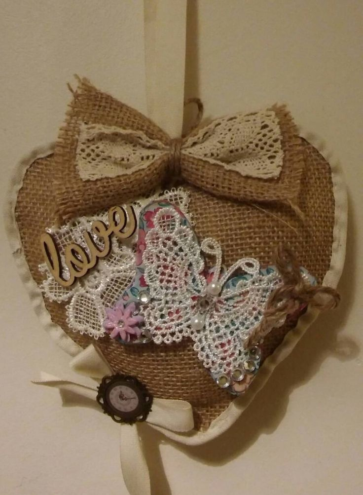 Hessian puffy hanging heart/wall hanging/shabby chic love/neutral colours/ butterfly by bootneckbabies on Etsy