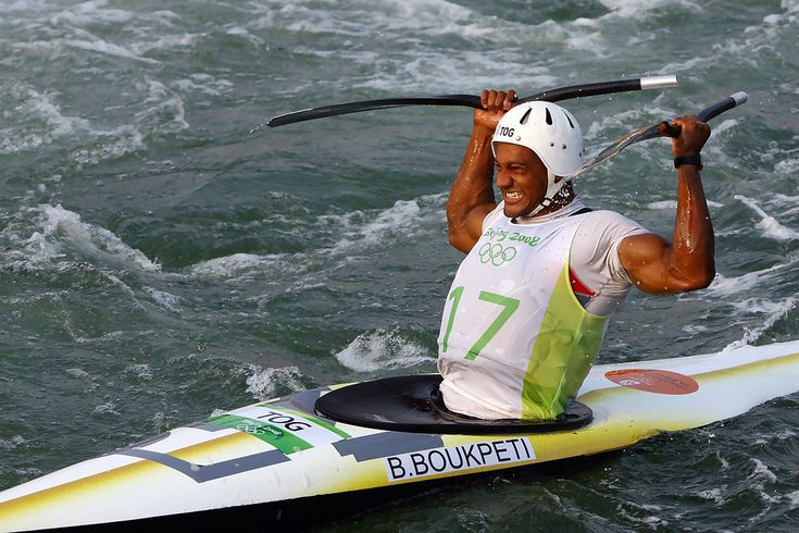 Bronze medalist Benjamin Boukpeti of Togo celebrates after competing in the Kayak (K1) Men's Final held at the Shunyi Olympic Rowing-Canoeing Park on Day 4 of the Beijing 2008 Olympic Games on August 12, 2008 in Beijing, China