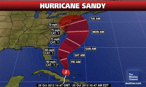 """Weather forecasters have already given the storm the nickname """"Frakenstorm"""" due to Hurricane Sandy's expected arrival so close to Halloween. The storm is currently a Category 2 hurricane, and, is barreling up the East coast of the United States. Regardless of where """"Sandy"""" makes landfall air traffic, and, many other forms of mass transit will be effected in the greater New York Tri-state area."""
