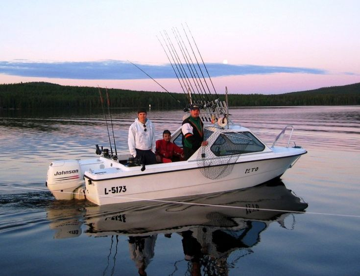 Trolling in July on Lake Miekojärvi, the Arctic Circle Lake in Pello in Lapland Finland
