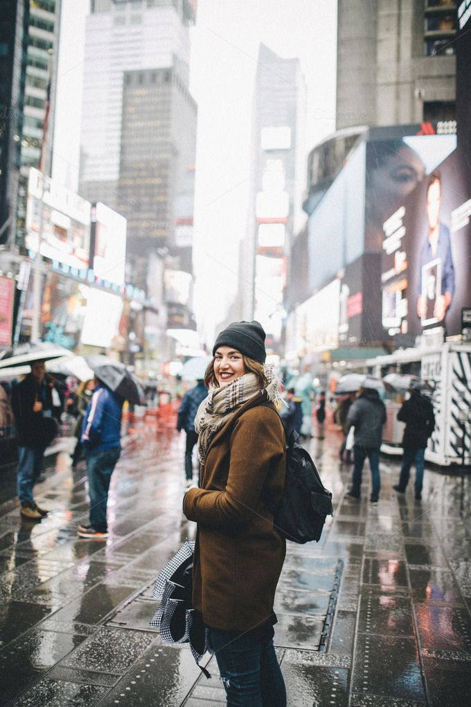 Girl in brown jacket smiling by Sean Berrigan Photography on Creative Market #portrait #girl #nyc #timessquare