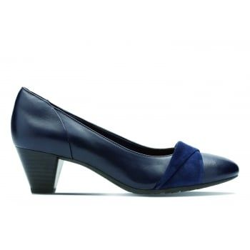 Denny Louise, smart for work or formal occasions, these slip-on shoes with a 5cm heel work effortlessly with your wardrobe. The upper is crafted from smooth leather and teamed with suede strap detail across the toe for added interest. This classic style offers comfort with every step thanks to the leather sock, making this a great style for both day and night wear.
