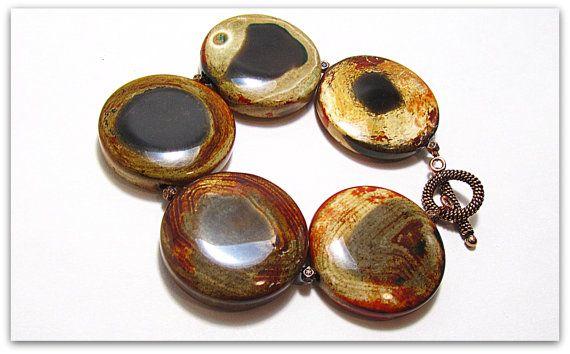 Tribal Bracelet, Natural Agate Bracelet, Healing Bracelet, Black Brown White Red Natural Stone Bracelet by ginatuckerdesigns. Explore more products on http://ginatuckerdesigns.etsy.com