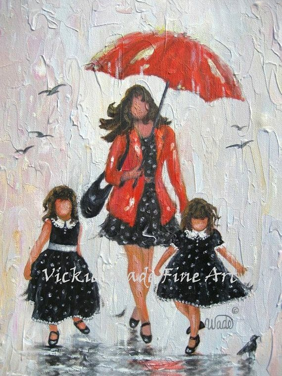 Mother and Two Daughters Art Print red by VickieWadeFineArt
