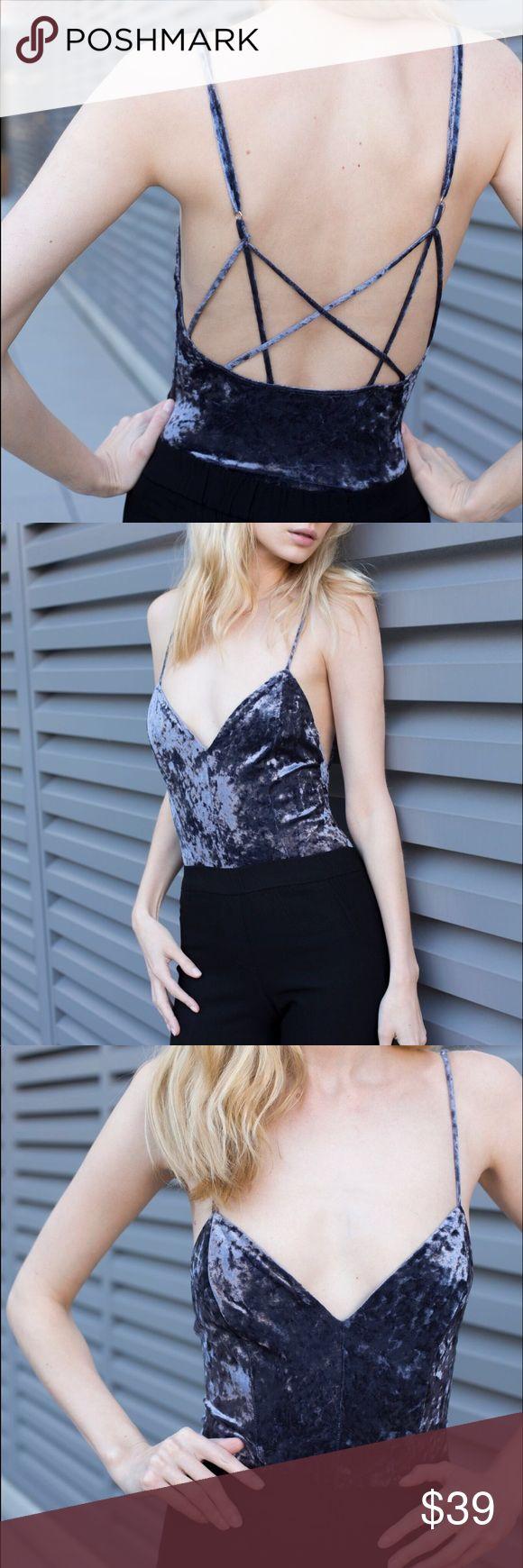 Strappy Back Velvet Bodysuit Soft brushed velvet. Straps are adjustable.  Color: Gun Metal  97% polyester, 3% spandex  Made in USA 🇺🇸 Tops
