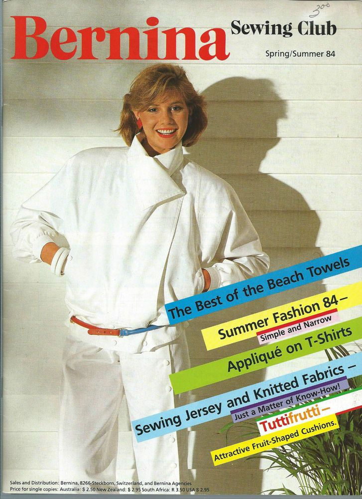 Bernina Sewing Club Spring/Summer 1984 Jacket Patterns Sewing Jersey Techniques…