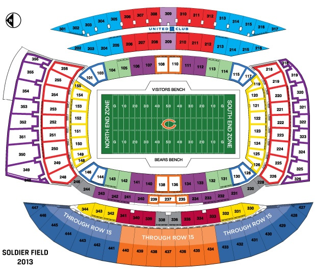 Soldier Field seating chart. Chicago here we come!