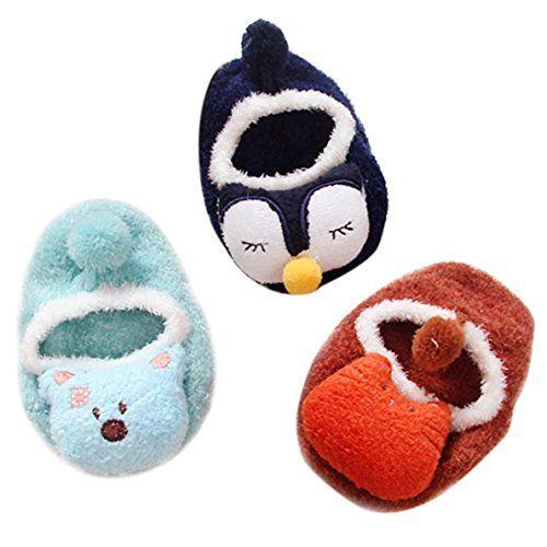 Lot 3 Paires Chausson Bébé 0-3 ans Chaussures d'éveil Soft Antidérapant: Mesurez les pointure avant commander, laver au température moins…