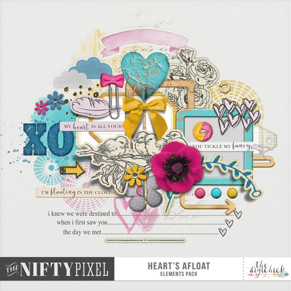 HEART'S AFLOAT | Elements Pack This cute whimsical pack of mixed elements is the perfect fit for all those Valentines or Love inspired pages you are wanting to create. With a touch of painterly goodness and some fun eclectic elements to really express your sentiment you will be making lots of gorgeous projects filled with love.  DOWNLOAD INCLUDES:  55+ Elements Including: Frames, Hearts, Picks, button, Flowers, Feather, Bow, Wordart, Journal Prompts + Blocks, Tags, Paint Textures & more.