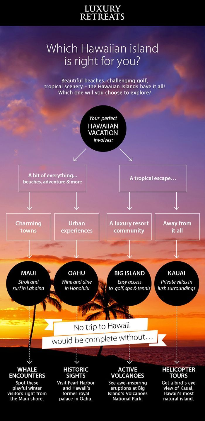 Maui, Oahu, Kauai or Big Island: which Hawaiian Island Is Right For You? #infographic #hawaii