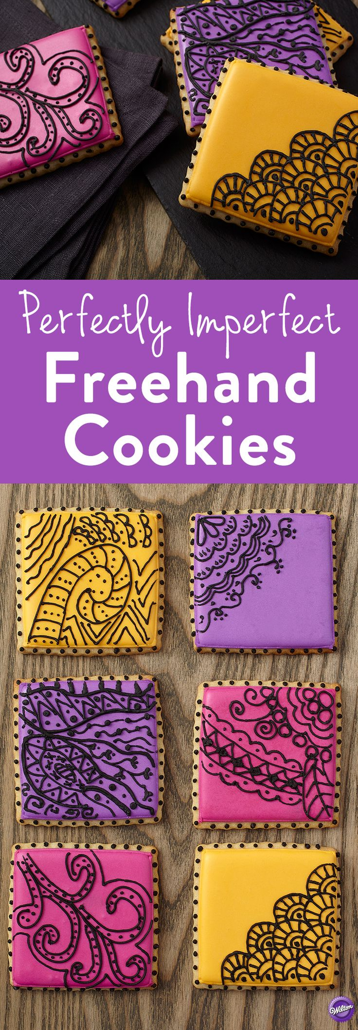 """How to Make Freehand Cookies - Bake cookies and decorate them with patterns and prints drawn freehand for a one-of-a-kind look. The scalloped edge of the cookie picks up on the flowing black lines of royal icing piped on brilliantly colored royal icing backgrounds. Don't fret about """"getting it right,"""" the trend calls for perfectly imperfect designs!"""