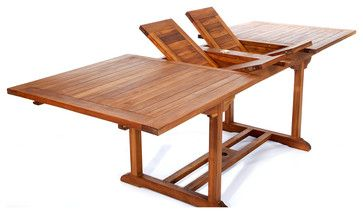 8ft Teak Patio Extension Table - with foldable butterfly leafs - traditional - Outdoor Dining Tables - All Things Cedar Inc.